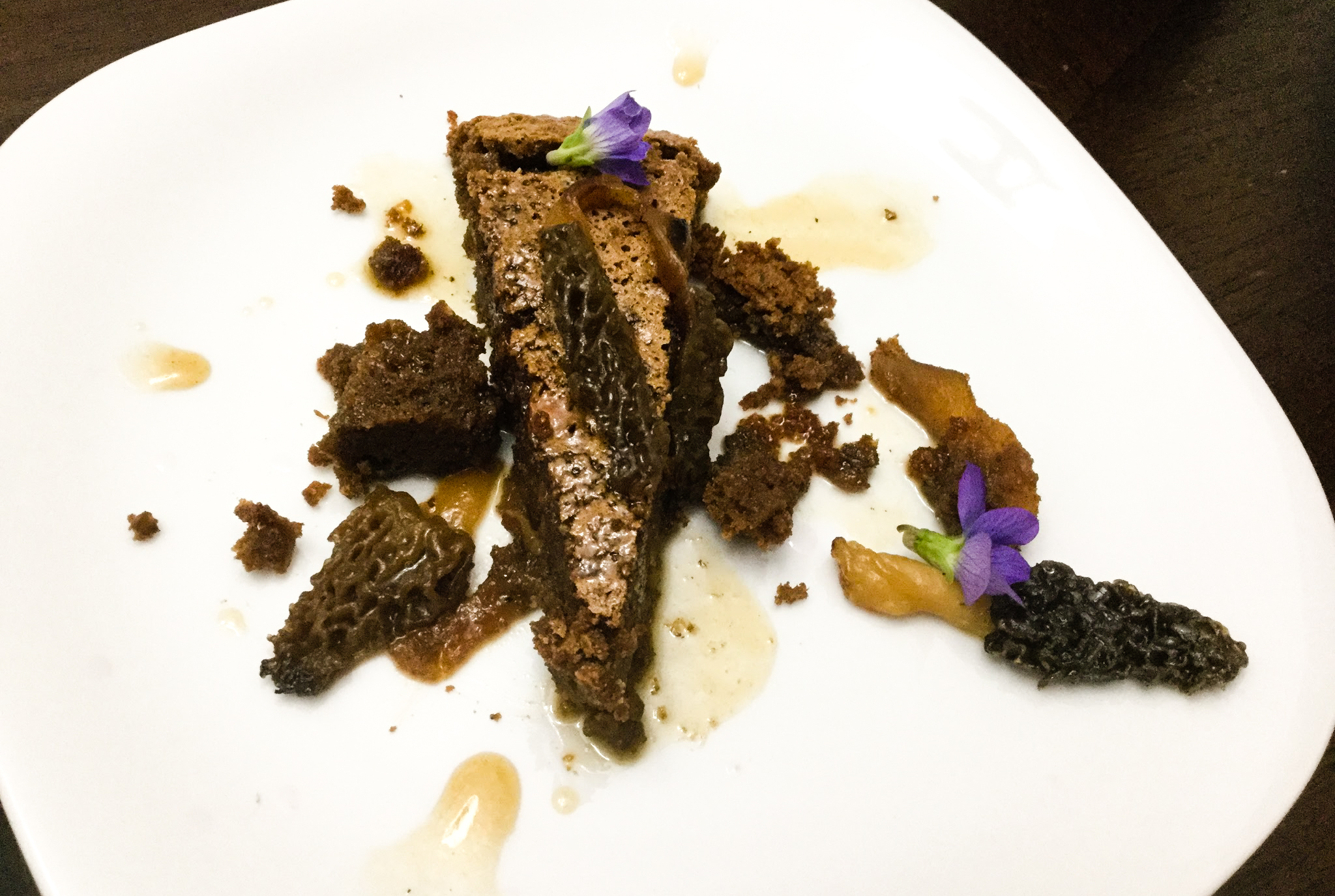 Morel mushrooms for dessert? Yep. The Tyrant's candied morel mushroom torte with maple butter glaze and violas was so dang delicious. Morel mushrooms.